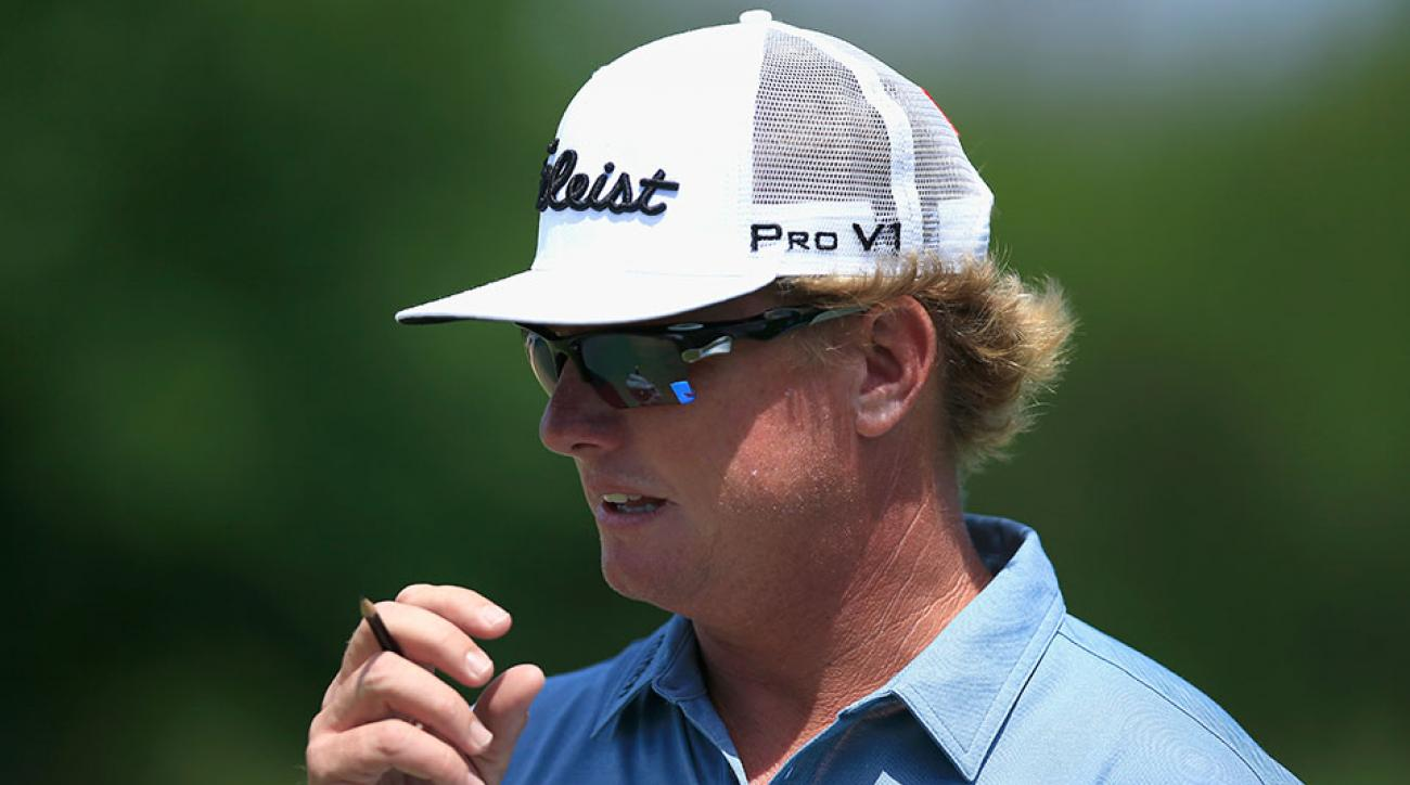 Charley Hoffman walks from the first hole during the third round of the Valero Texas Open at TPC San Antonio AT&T Oaks Course on April 23, 2016