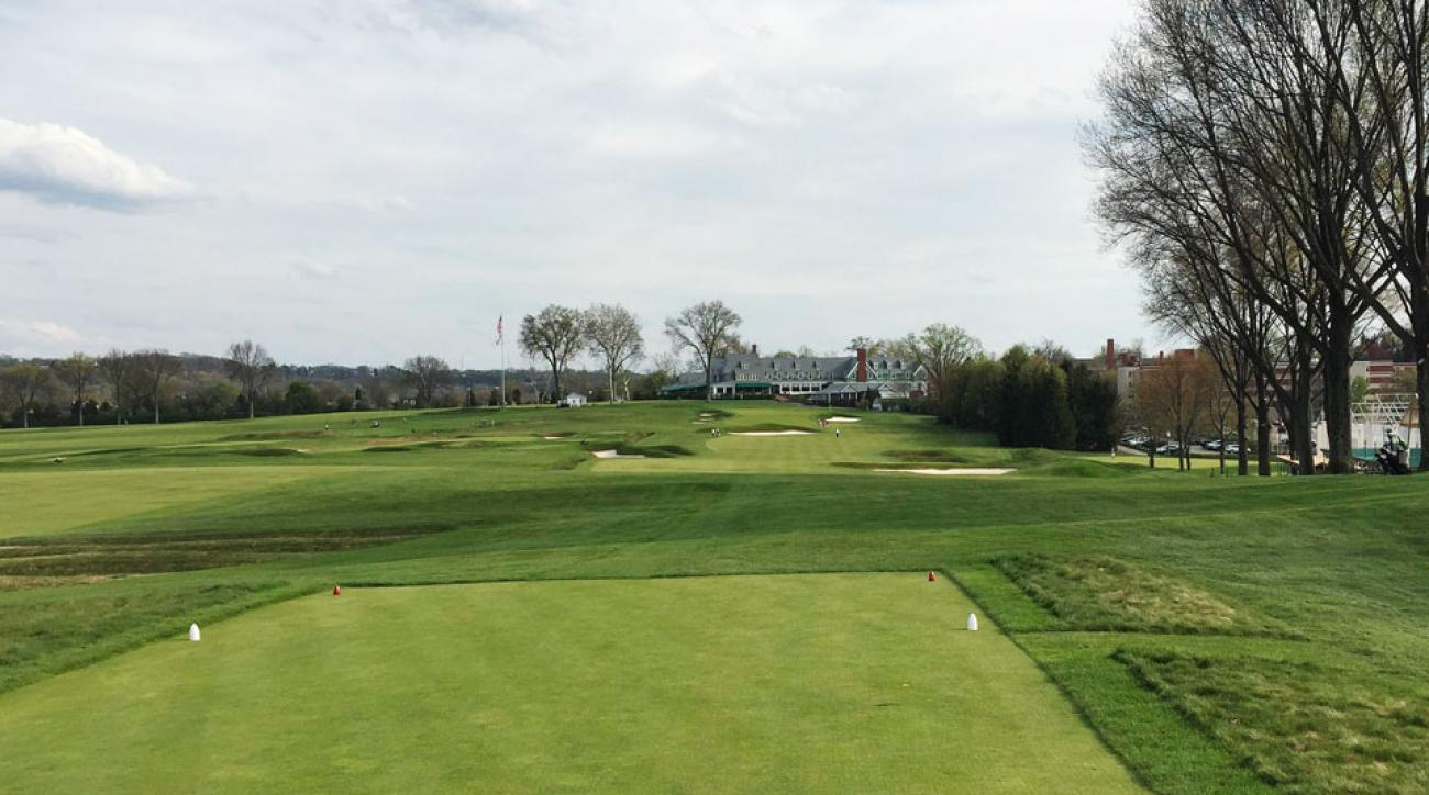 The 18th tee at Oakmont looks like most tees: seems wide open but the trouble is where you're likely to hit.