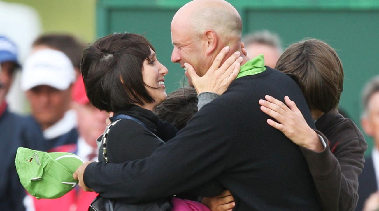 Stewart Cink celebrates with his wife Lisa and family following his playoff victory over Tom Watson in the 2009 British Open at Trump Turnberry.