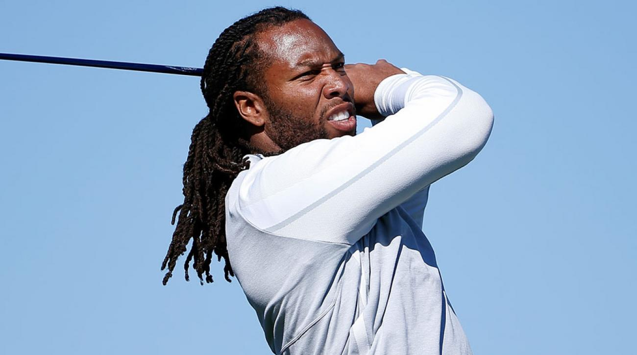 Larry Fitzgerald tees off on the 15th hole during the pro-am before the 2016 Waste Management Phoenix Open.