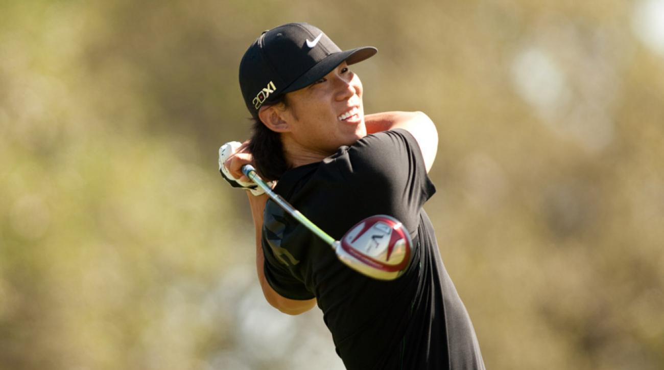 Anthony Kim plays a tee shot during the first round of the 2012 Valero Texas Open.