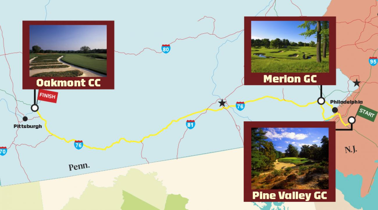 Over four days and 340 miles, our correspondent logged three epic rounds: Pine Valley, Merion and Oakmont.