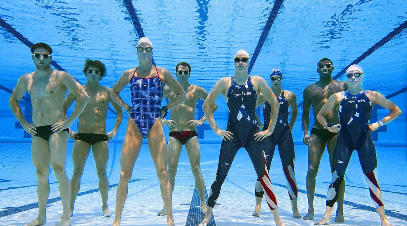 Members of the 2008 USA swim team: (from left): Garrett Weber-Gale, Ryan Lochte, Dara Torres, Aaron Piersol, Katie Hoff, Margaret Hoelzer, Cullen Jones, Natalie Coughlin.