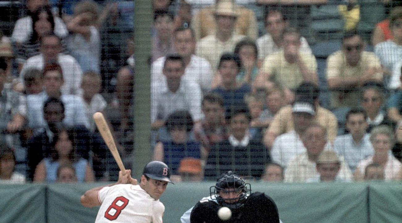 Carl Yastrzemski bats against the California Angels on July 26, 1967 at Fenway Park in Boston.