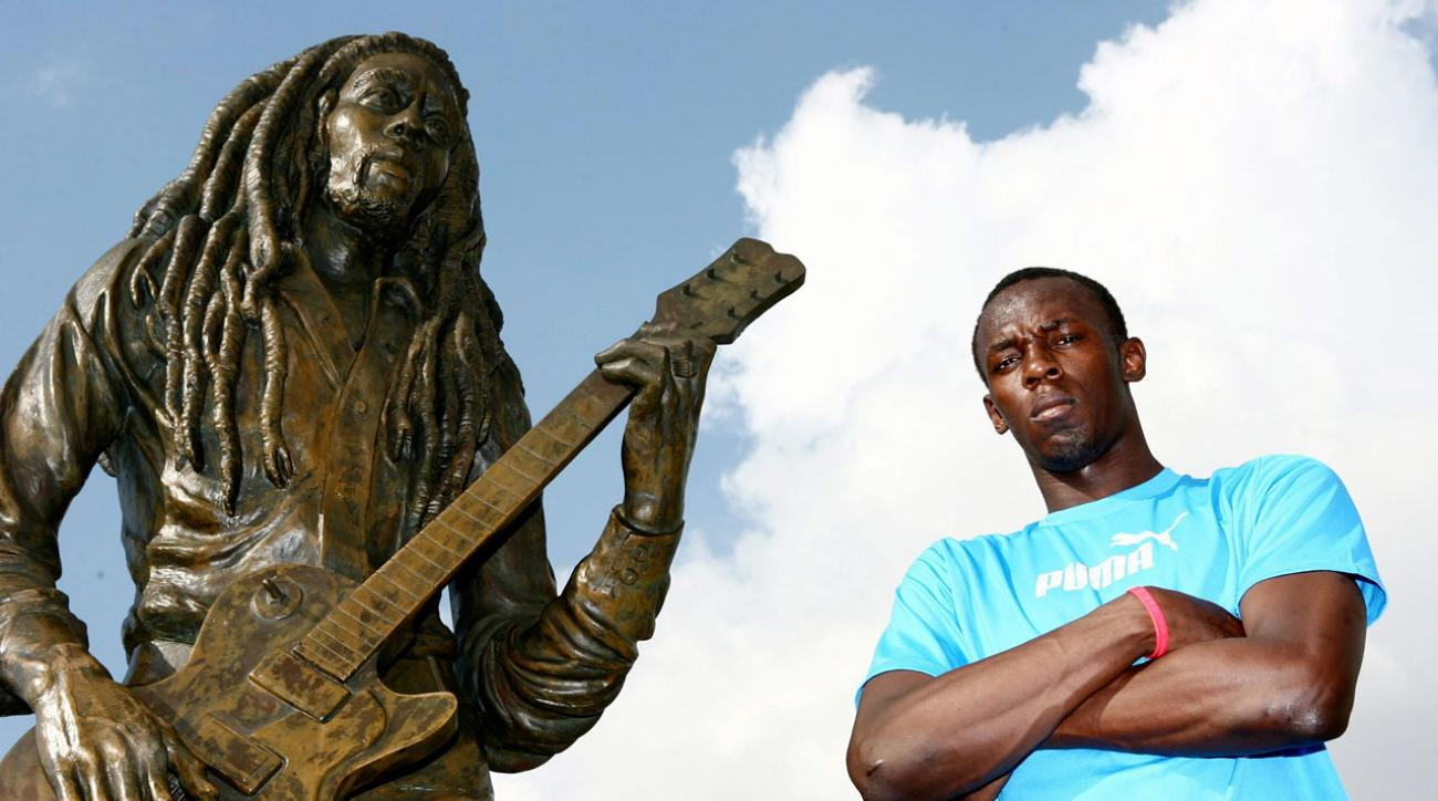 Usain Bolt, next to a statue of fellow countryman and legendary reggae singer Bob Marley in 2007, was born in Trelawny, Jamaica, on Aug. 21, 1986.
