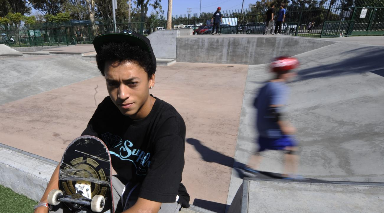 Nyjah Huston poses for a picture in Costa Mesa, Calif. in August 2011 after winning the first three stops in the Street League Skateboarding tour.