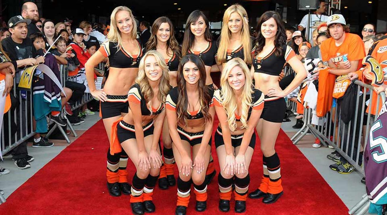 Erin Rohac (upper left) and the rest of the crew outside the Honda Center in October 2014.
