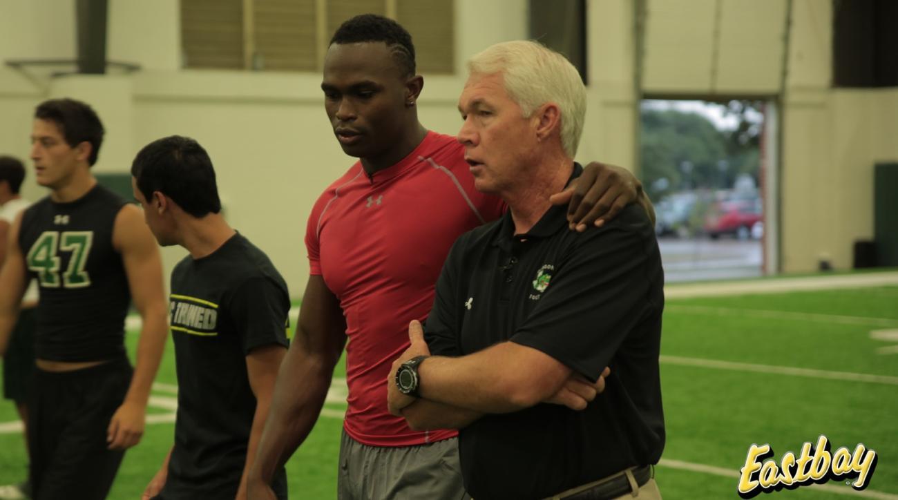 Atlanta Falcons wide receiver Julio Jones with Carroll Senior High coach Hal Wasson in Texas.