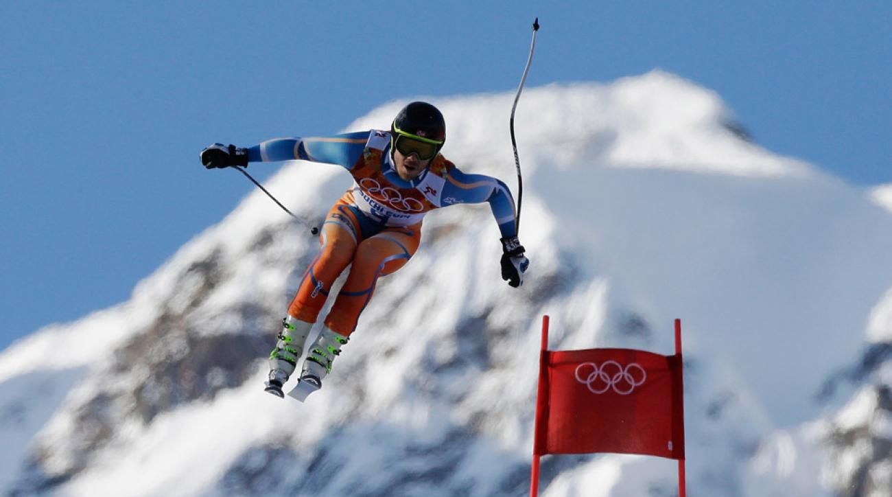 Kjetil Jansrud's time of 1:53.24 in the downhill has him leading the pack in the Men's Super Combined skiiing.