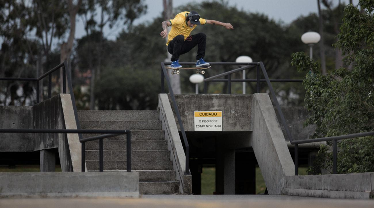 Nike Street League skater Luan Oliveira, from Porto Alegre, Brazil, performs some aerial moves for Nike SB.