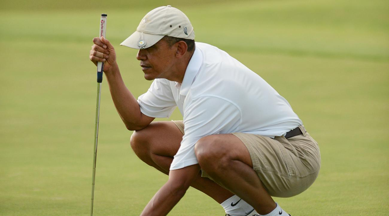 Kind of hard for the POTUS to pretend a ball he finds in the woods is his when he's playing with custom Titleist No. 44 balls.