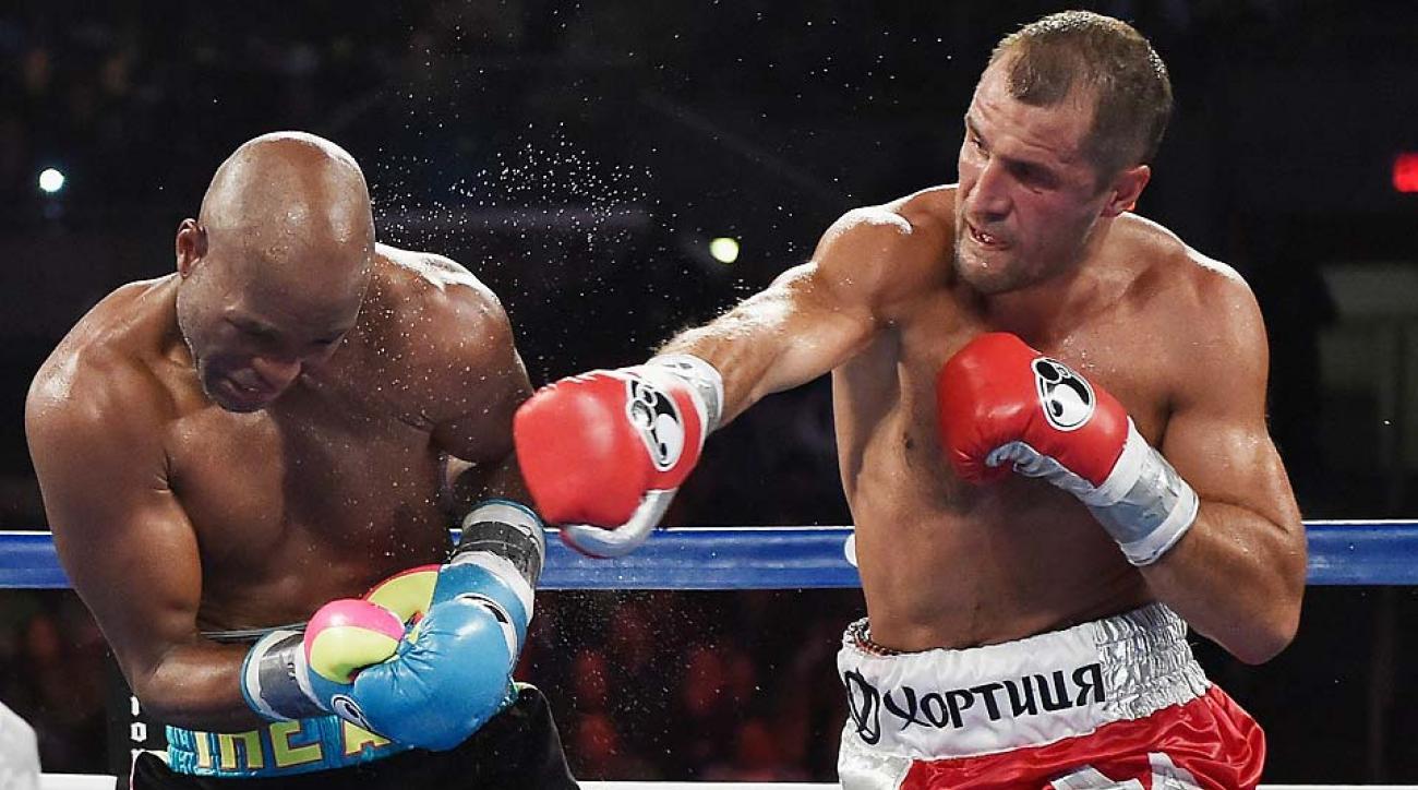 Sergey Kovalev defeated Bernard Hopkins during their IBF, WBA, & WBO Light Heavyweight title fight at Boardwalk Hall Arena on Nov. 8 in Atlantic City.