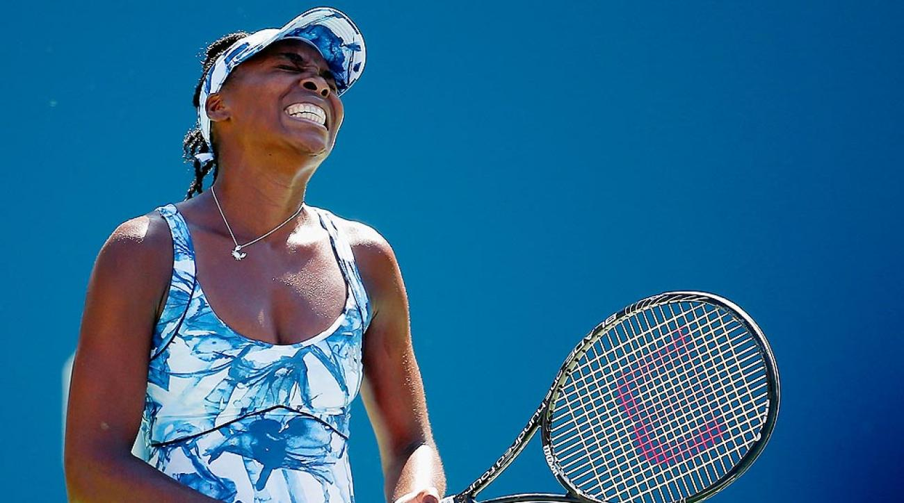 Venus Williams fell to Italian Sara Errani a wild, back-and-forth match Friday at the U.S. Open.