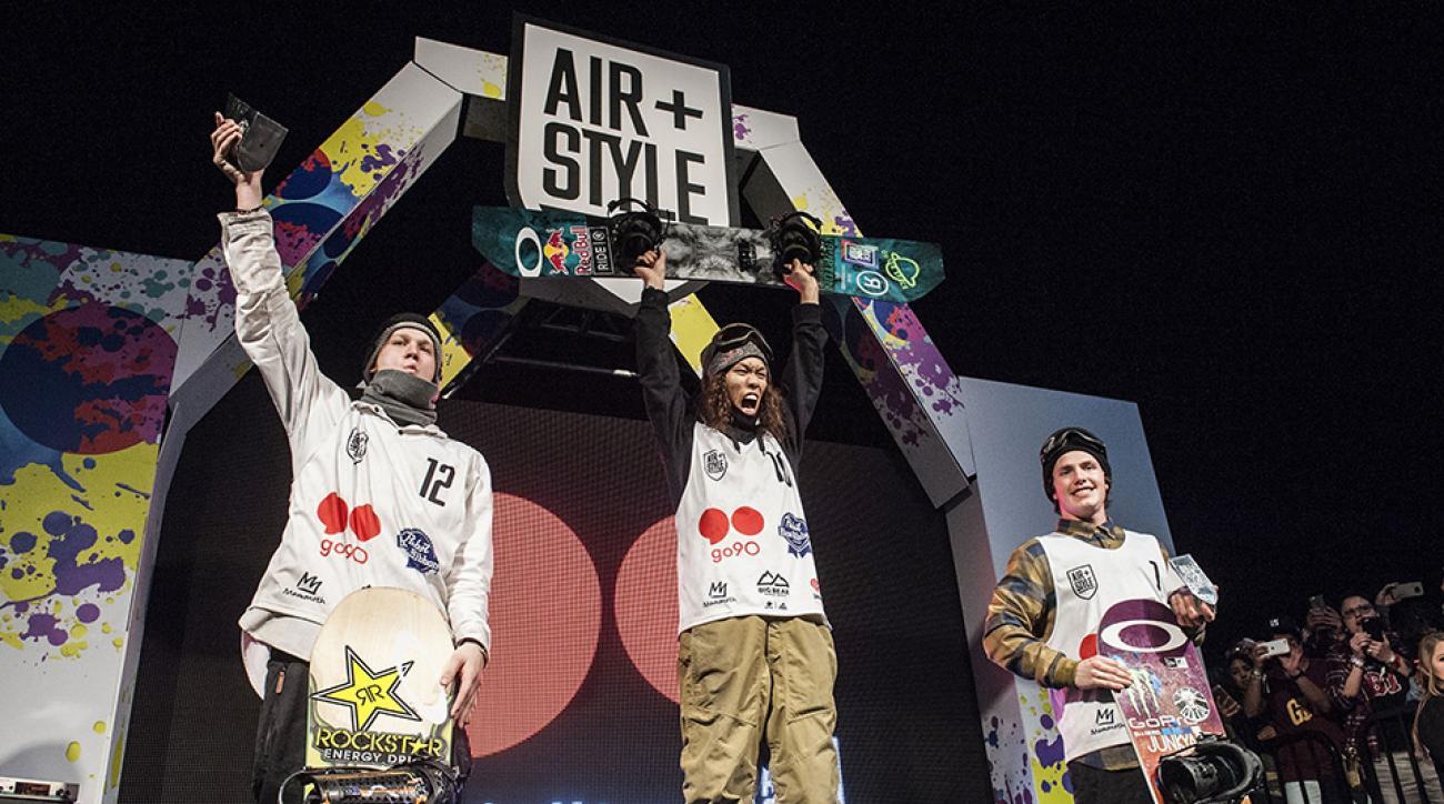 Yuki Kadono (center) wins Air+Style in Los Angeles.