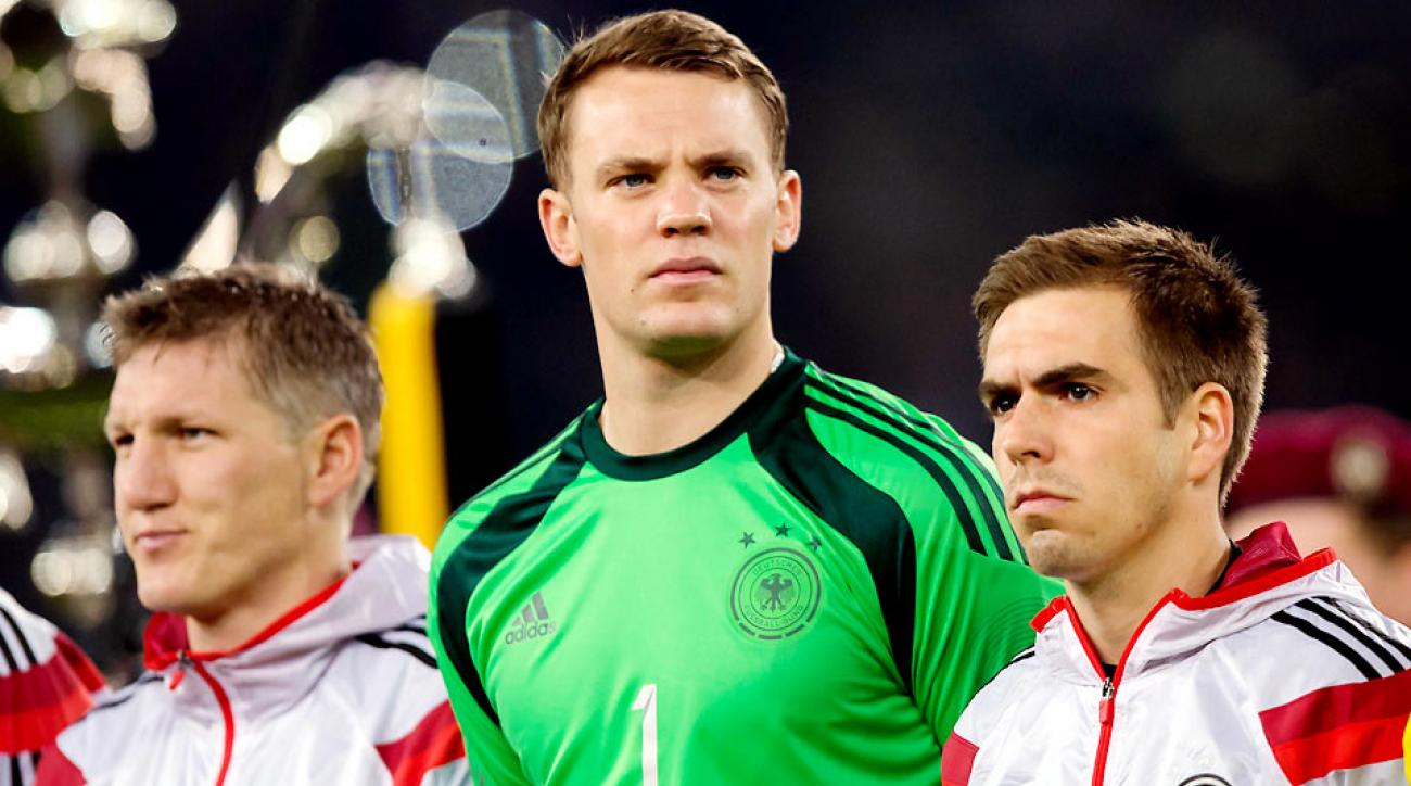 Injured Bayern Munich players (L-R) Bastian Schweinsteiger, Manuel Neuer and Philipp Lahm all made Germany's final World Cup roster.