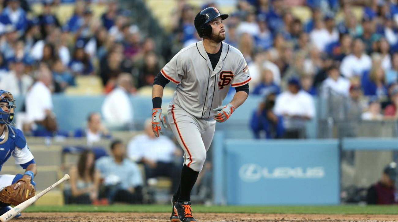 As first baseman for the San Francisco Giants, Brandon Belt is currently tied for second place in home runs hit this season.