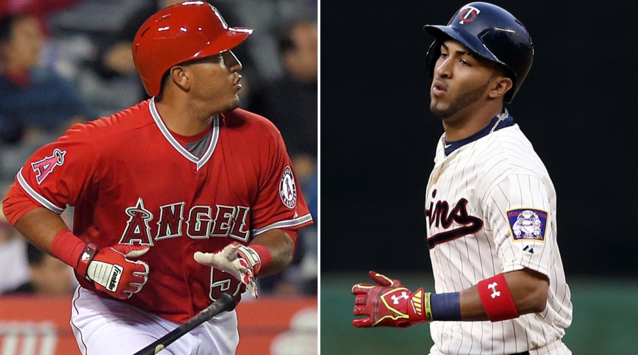 Carlos Perez (L) hit a walk-off home run in his MLB debut, while Eddie Rosario hit a homer on the first pitch he saw in his first game.