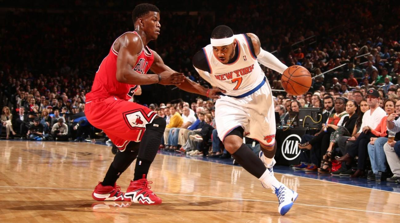 Carmelo Anthony could become teammates with the Bulls' Jimmy Butler (left) next season.