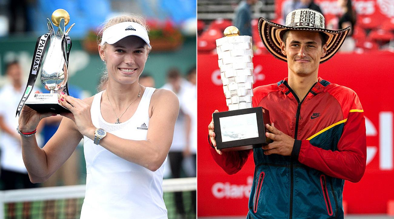 Caroline Wozniacki and Bernard Tomic each won their first title of the season on Sunday.
