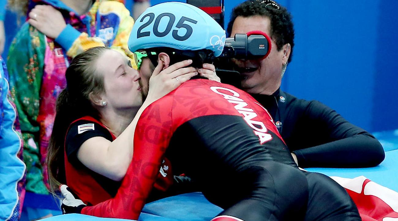 Hamelin's girlfriend, Marianne St-Gelais, an Olympian herself, was on hand to celebrate his victory, as was his father (Hamelin's coach) and his brother (a fellow competitor).