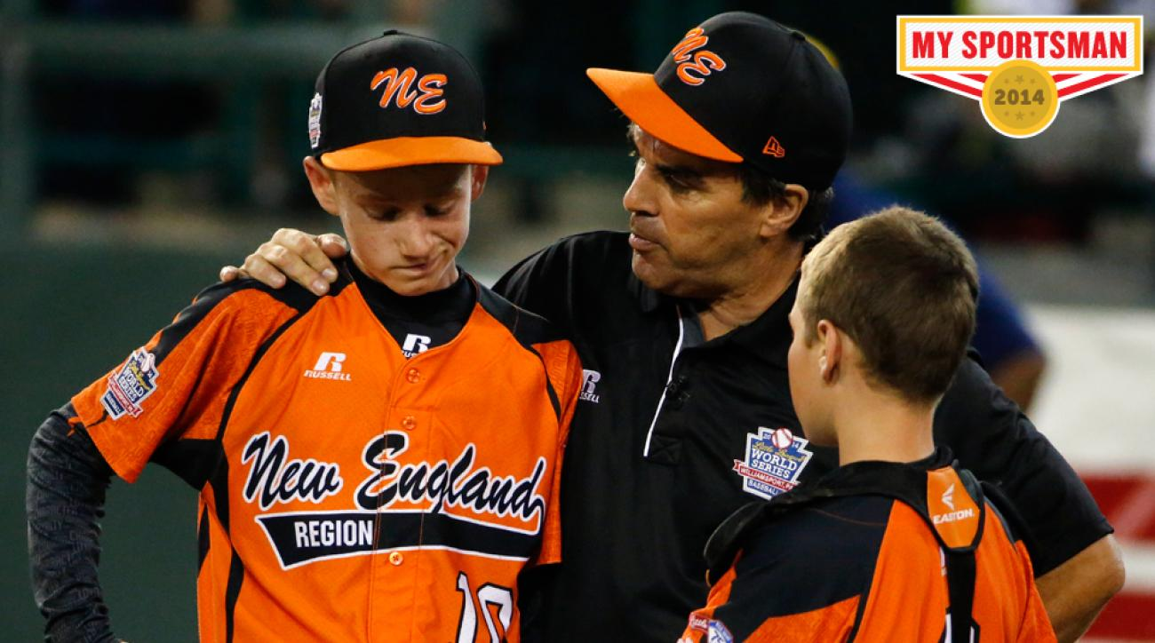 Belisle, center, talks with pitcher CJ Davock, left, and catcher Trey Bourque at the Little League World Series tournament.