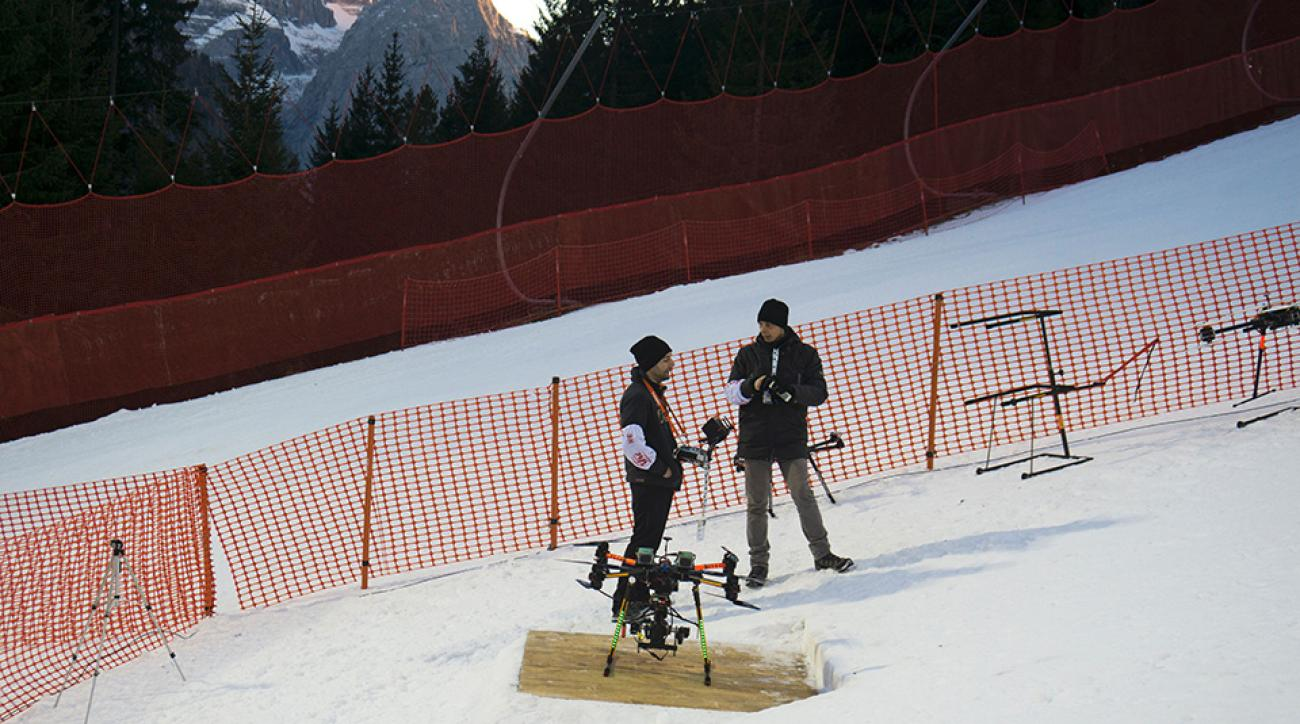 A photo of the TV broadcast drone which crashed behind a skier during the FIS Alpine Skiing World Cup Men's Slalom in Madonna di Campiglio, Italy. Austria's Marcel Hirscher narrowly avoided serious injury when the drone fell from the sky.