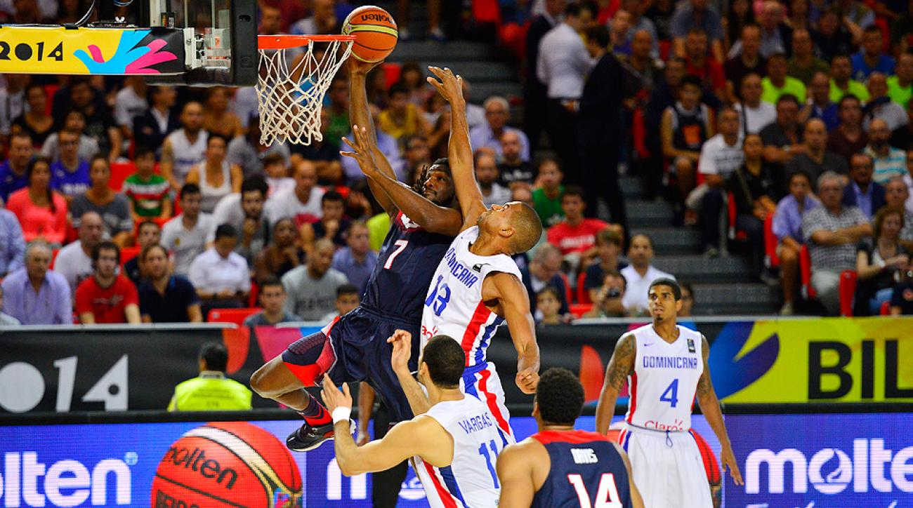 Kenneth Faried (7) continued his strong frontcourt play for Team USA in the victory over the Dominican Republic.