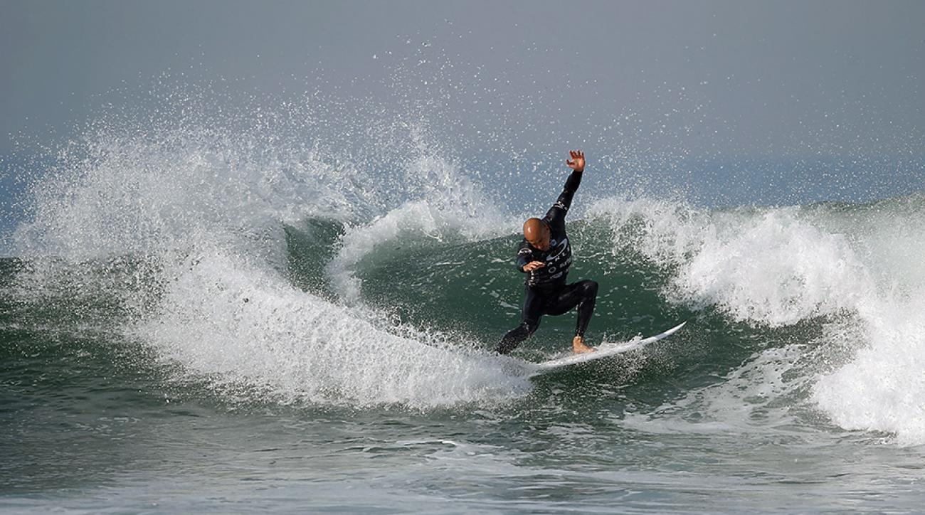 Kelly Slater at the Oakley Lower's Pro in San Clemente, California.