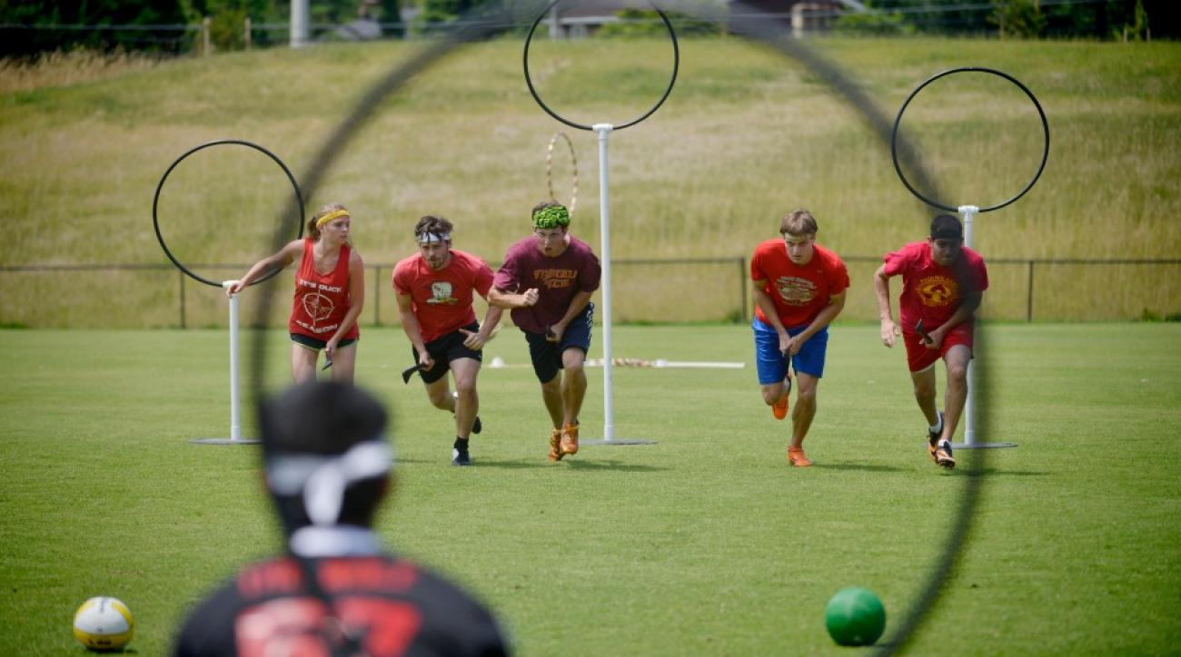 Participants in the annual QuidCon quidditch tournament