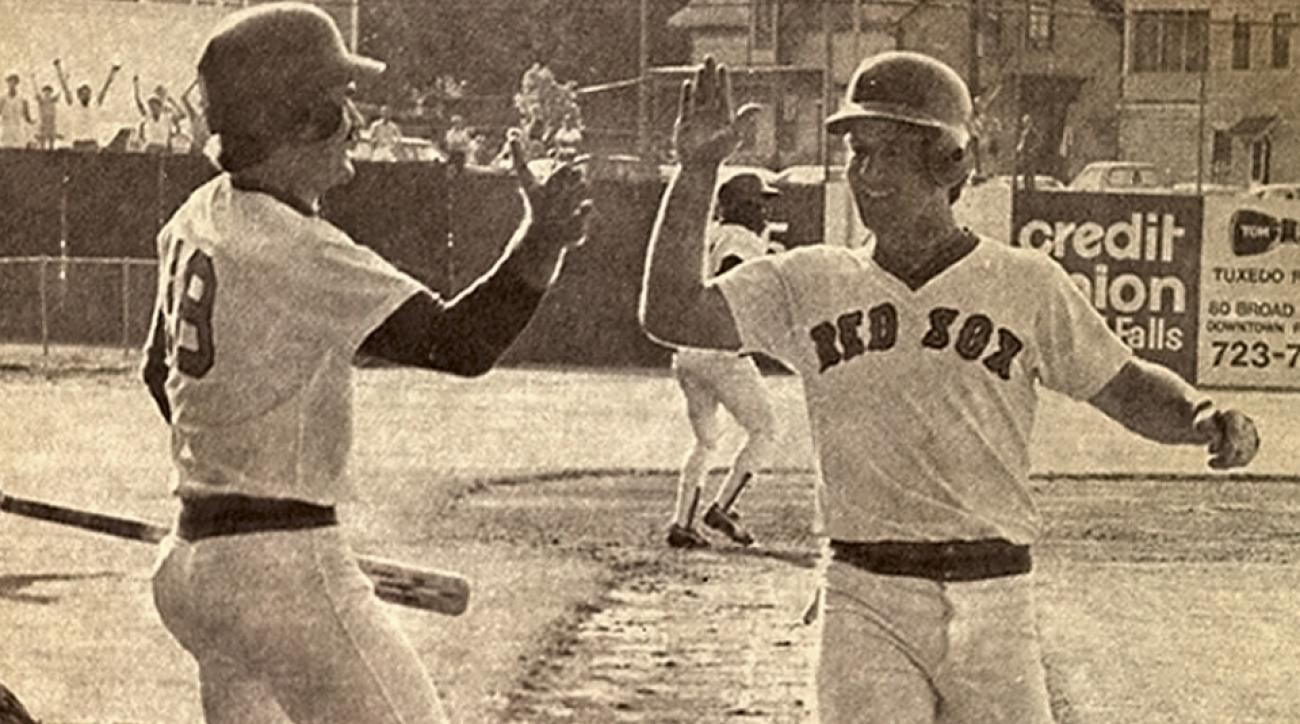 Wade Boggs (left) and Marty Barrett were with Pawtucket in 1981 as part of the longest professional baseball game every played.