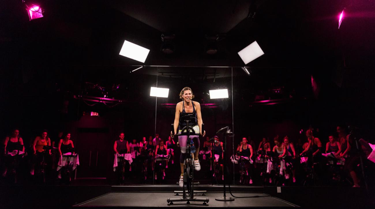 Go from riding in a spin class, to seeing this instructor on the display of your stationary bike.