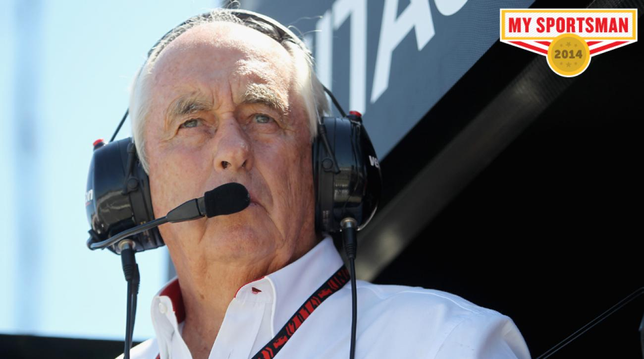 Penske watches from pit road during the IndyCar Series GoPro Grand Prix of Sonoma.