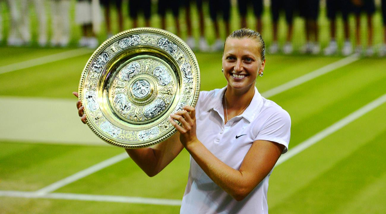 Petra Kvitova flattened Eugenie Bouchard with her powerful strokes and remains undefeated in her Grand Slam finals.