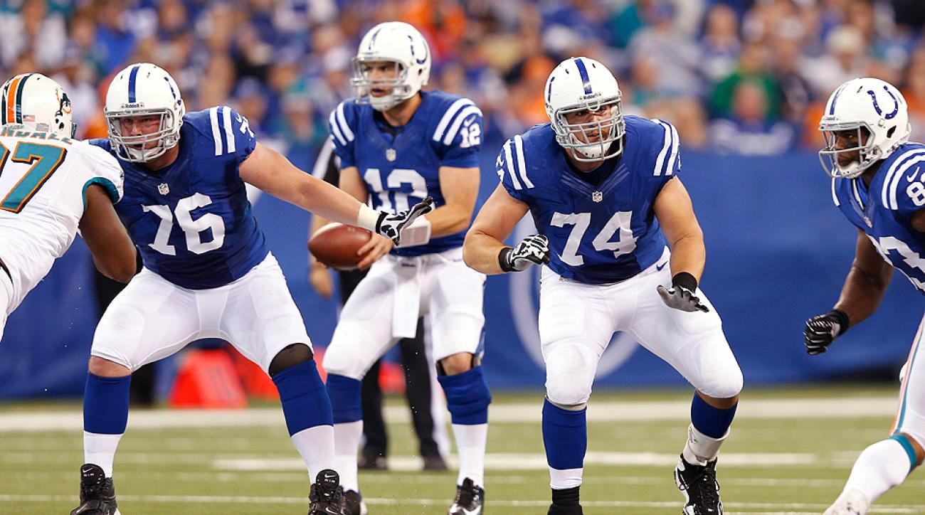 Colts lineman Joe Reitz (No. 76) blocks for QB Andrew Luck against the Miami Dolphins during a matchup at Lucas Oil Stadium.