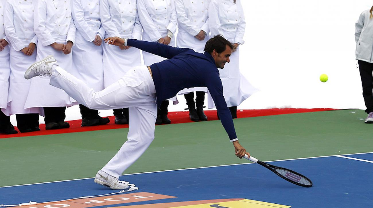 Roger Federer also played tennis on top of a glacier against skier Lindsay Vonn this week.