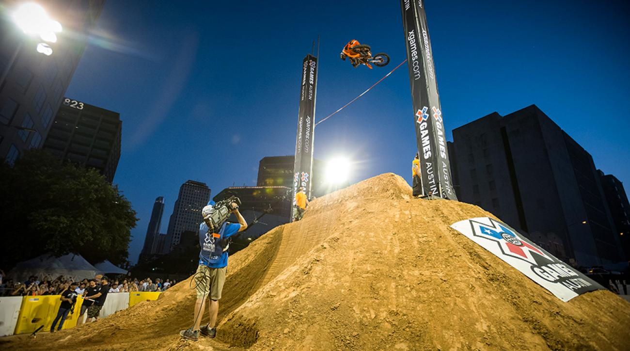 Ronnie Renner competing in the Moto X Step Up Final during opening day of X Games Austin 2015.