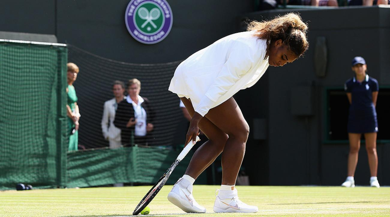 Serena Williams struggled to handle the ball and looked out of sorts during her warmup.