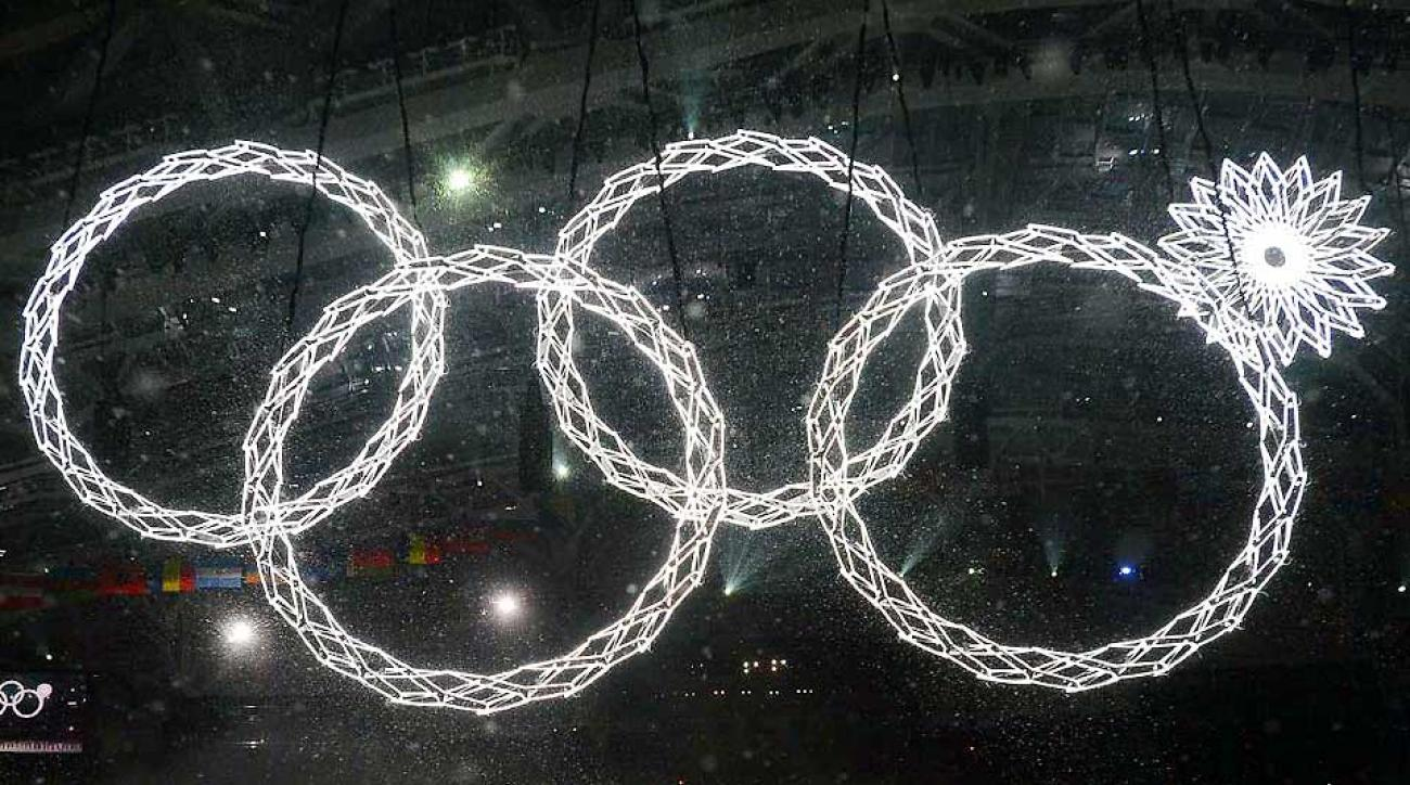 Russian TV viewers did not see this malfunction of the Olympic rings in the opening ceremony Friday.