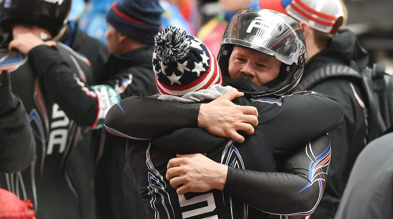 Driver Steve Holcomb and pusher Steve Langton won bronze Monday, the first U.S. two-man bobsled medal in 62 years.