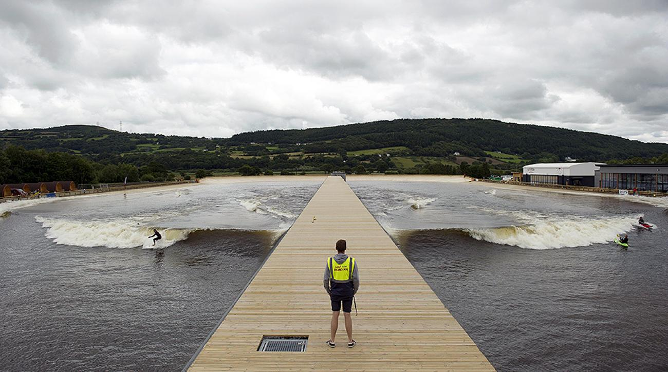 A lifeguard is pictured at the head of an artificial lagoon known as Surf Snowdonia in the village of Dolgarrog in north Wales. This kind of facility may be used as a way to include surfing in the 2020 Olympics in Tokyo.