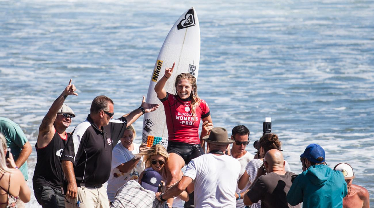 Stephanie Gilmore of Australia celebrates her victory after the final at the Swatch Women's Pro on September 18, 2014 in Lower Trestles, California.