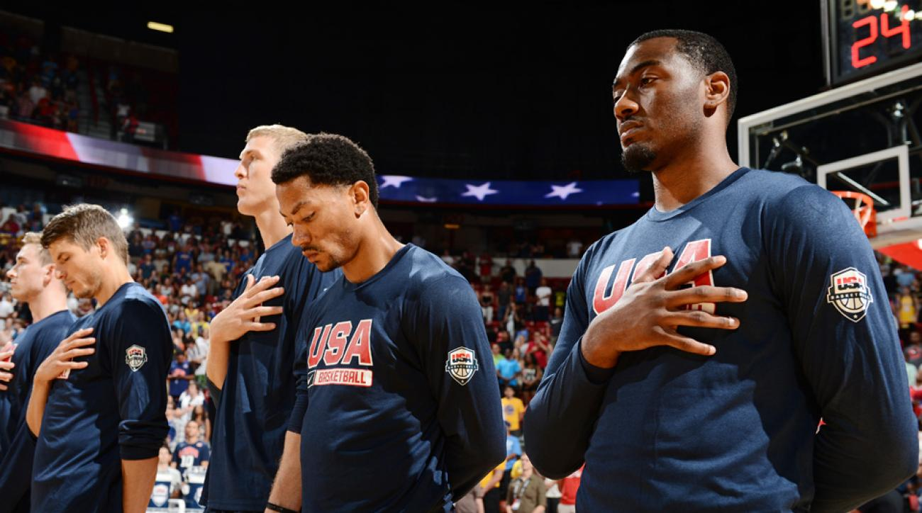 Derrick Rose looks on prior to a USA Basketball team scrimmage on August 1, 2014 at the Thomas & Mack Center in Las Vegas, Nevada.