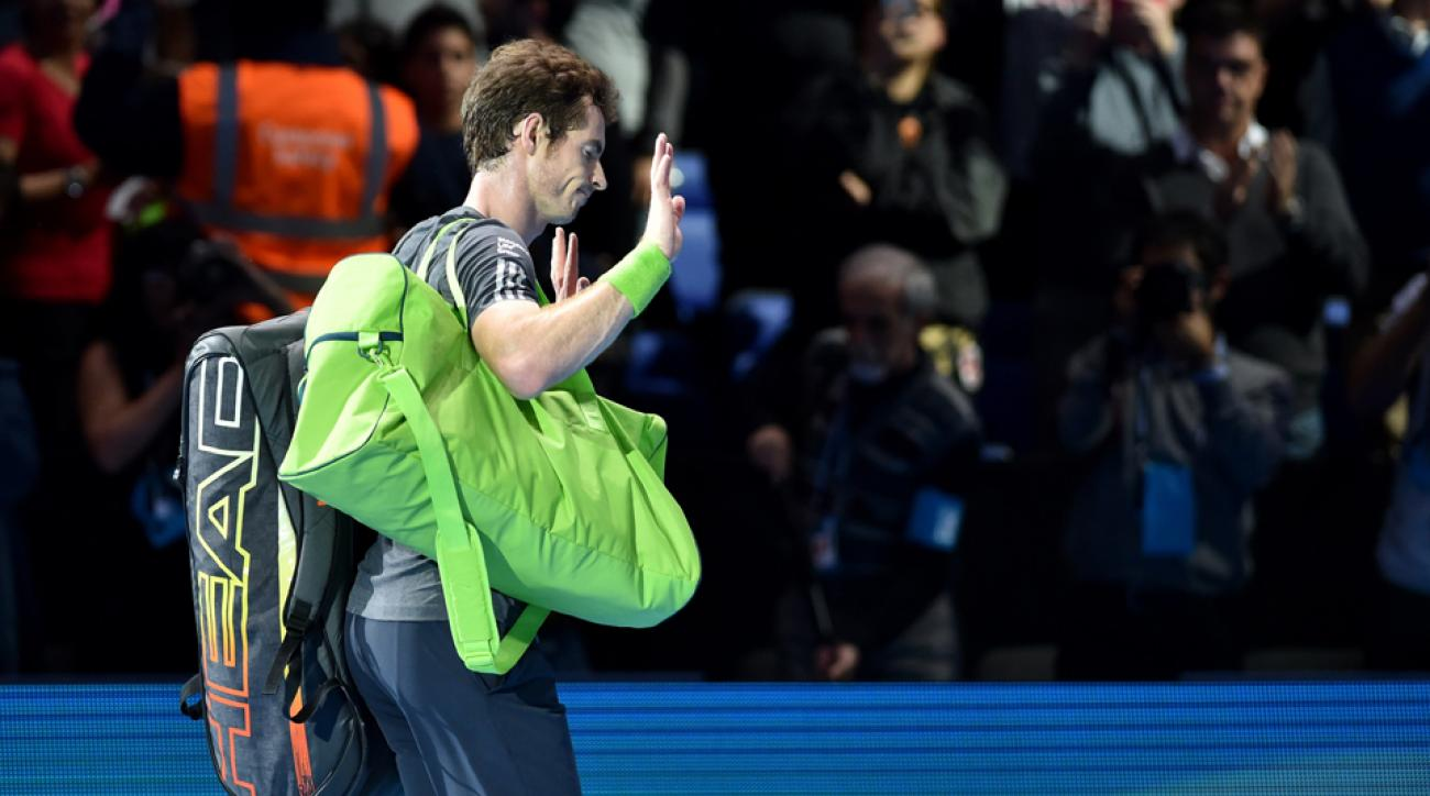 Murray acknowledges the crowd as he leaves the court after losing 6-0, 6-1 to Federer on Thursday.