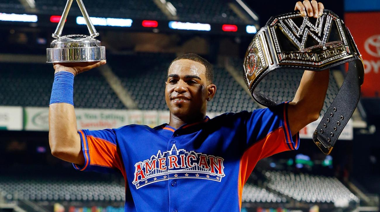 Yoenis Cespedes defeated Bryce Harper in the finals of last year's Home Run Derby at Citi Field and returns this year to defend his title at Target Field.