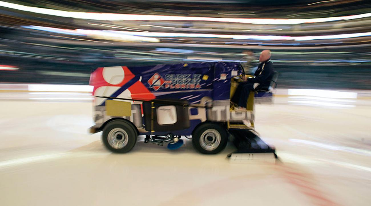 Note: This is an NHL Zamboni being piloted responsibly, not an actual photo of the incident or driver in question.