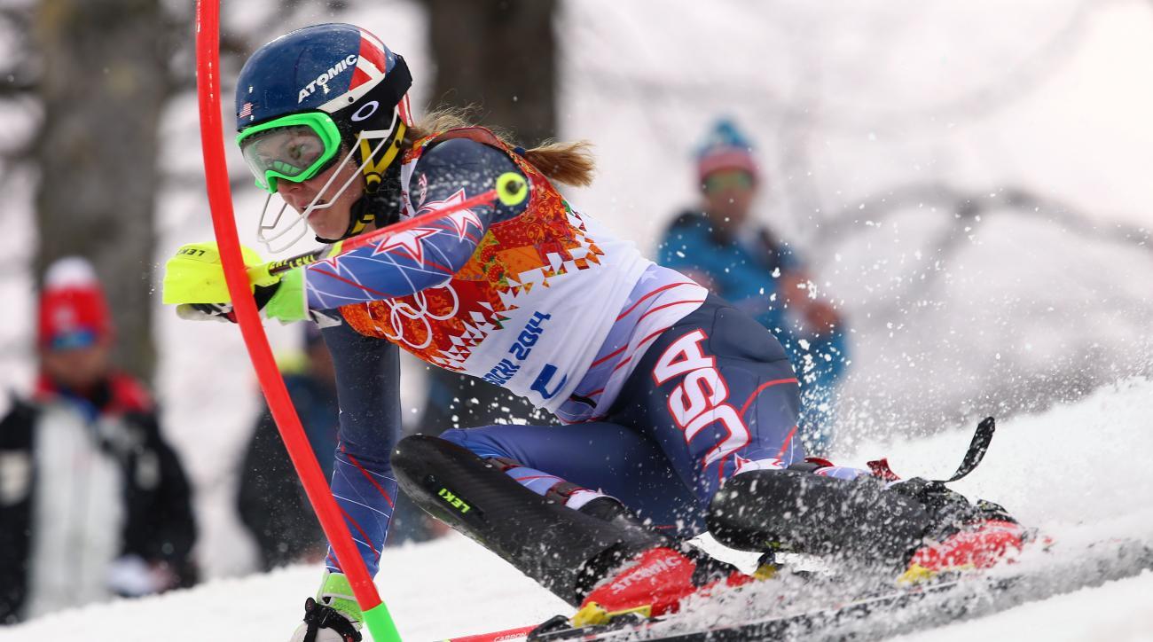 United States' Mikaela Shiffrin skis past a gate during the women's slalom at the Sochi 2014 Winter Olympics, Friday, Feb. 21, 2014, in Krasnaya Polyana, Russia. (AP Photo/Alessandro Trovati)