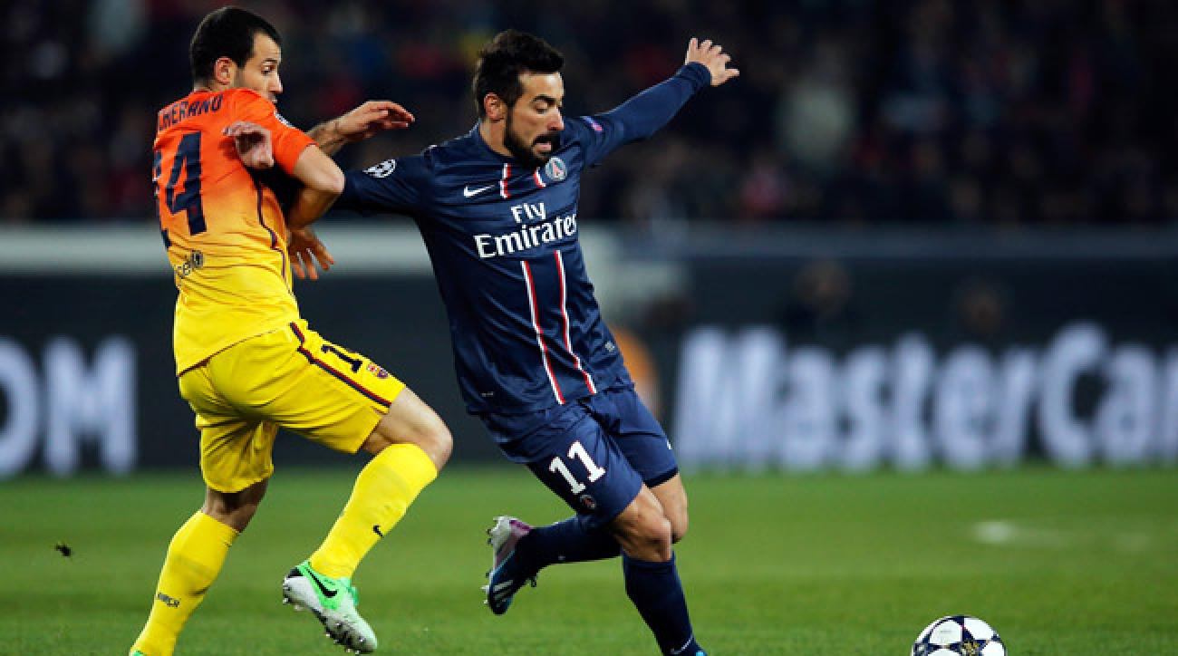 Javier Mascherano (left) tore a knee ligament and could miss the remainder of Barcelona's season.