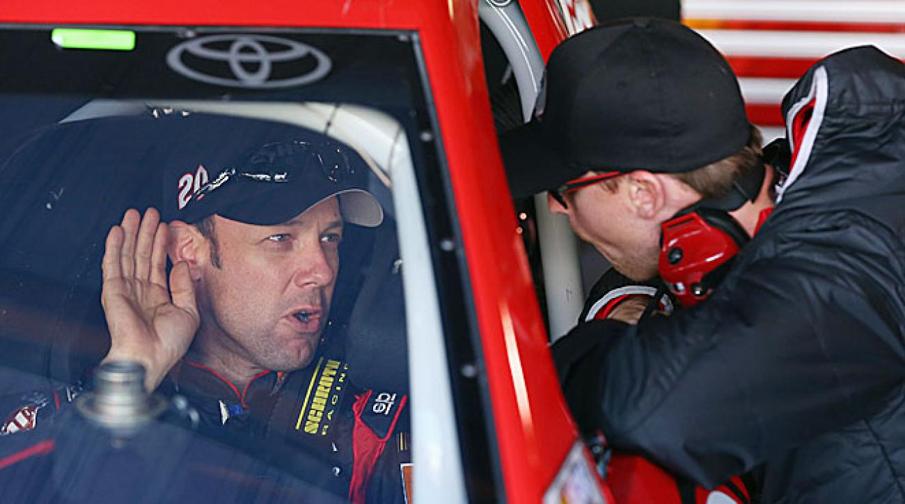 Matt Kenseth and his Joe Gibbs Racing team have impressed the injured Denny Hamlin (right).