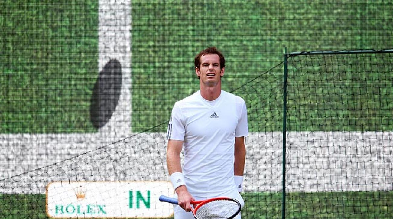 Andy Murray reacts to a Hawk-Eye review at Wimbledon in 2013. The system has been in place since '06.