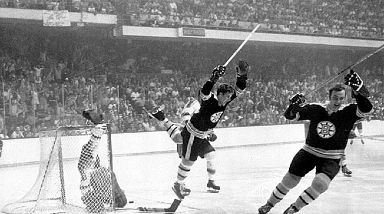 Hitting the heights: Bobby Orr is launched by Noel Picard's trip as his iconic Cup-winning flight begins.